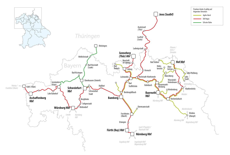 franken karte Franken Karte 9   Bahnland Bayern