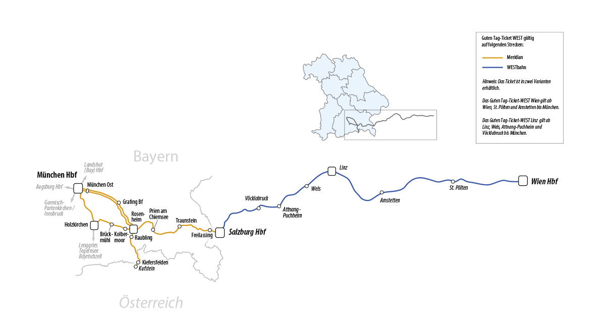 Guten Tag Ticket West Bahnland Bayern